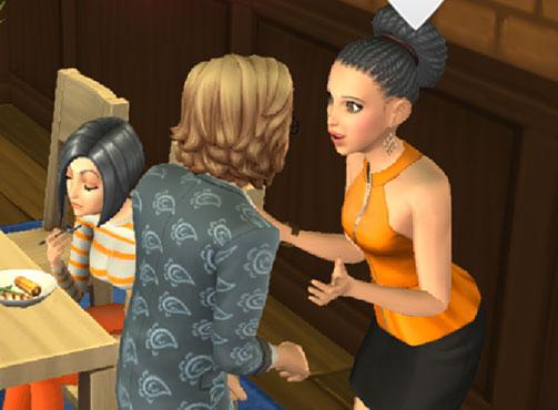 ノア君に嬉しそうに話しかける、シニアのヘイリーさん(The Sims シムズポケット)