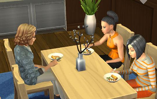 レストランで食事をするシムたち(The Sims シムズポケット)