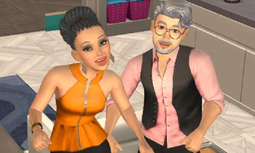 結婚パーティーで踊る新婚夫婦ヘイリー&ノア(The Sims シムズポケット)
