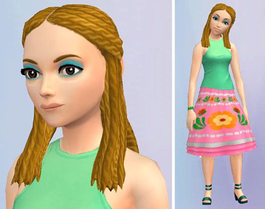 「橙に煌めく第六感のレイヤードの花柄スカート」を着たサラちゃん(The Sims シムズポケット)
