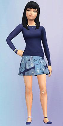 「輝く美味しさのミニスカート」を着たサラちゃん(The Sims シムズポケット)