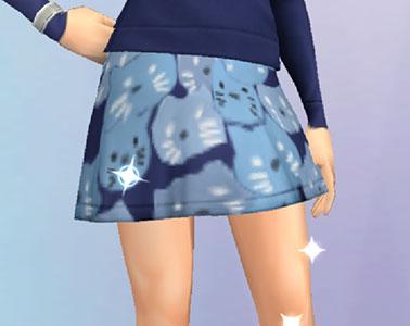 猫柄のミニスカート。青色(The Sims シムズポケット)