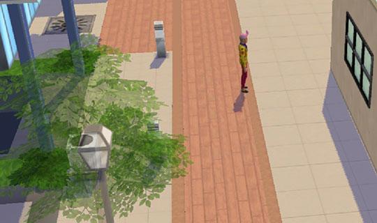 街に独りたたずむイジー(The Sims シムズポケット)